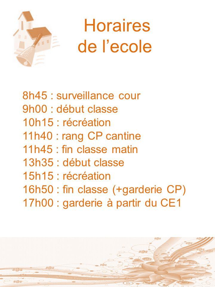 Horaires de l'ecole 8h45 : surveillance cour 9h00 : début classe