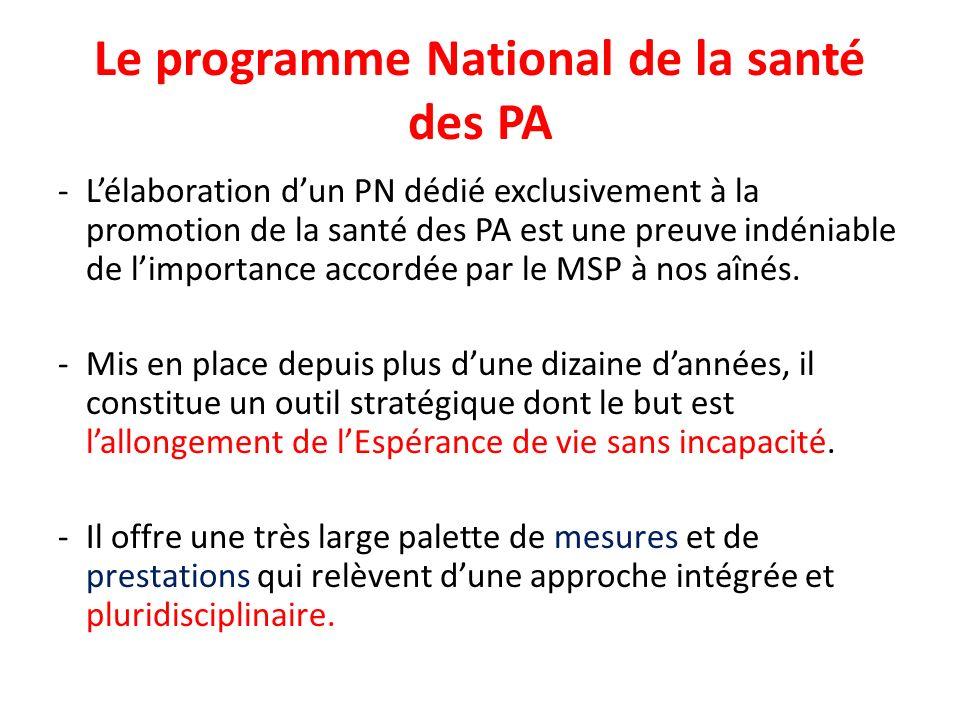 Le programme National de la santé des PA