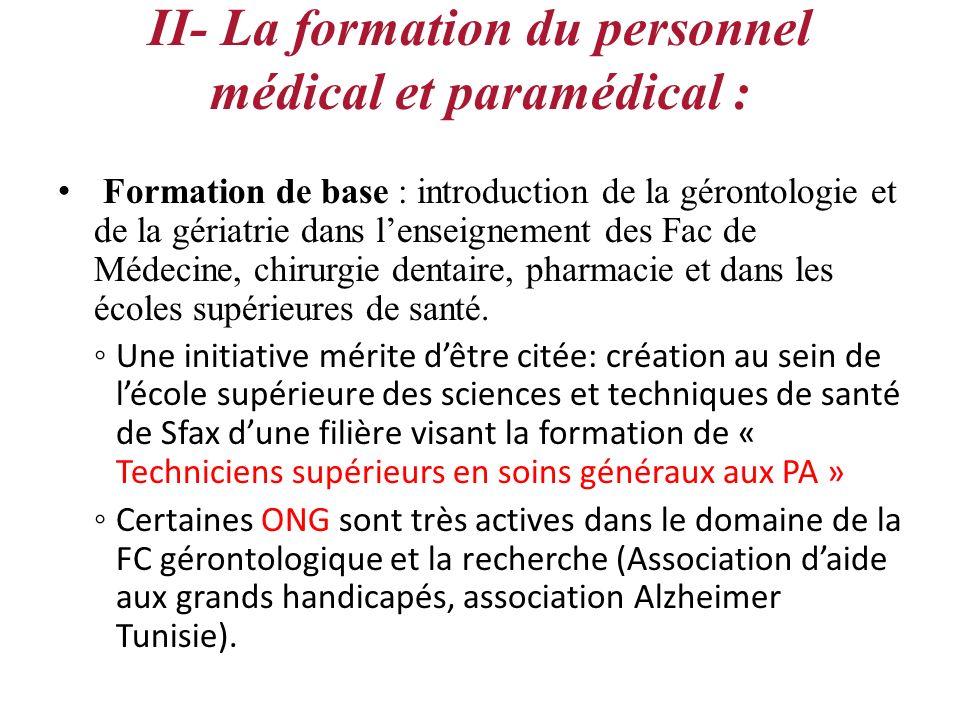 II- La formation du personnel médical et paramédical :