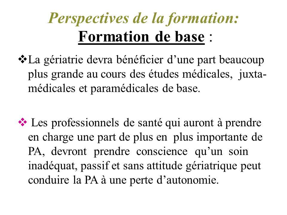 Perspectives de la formation: Formation de base :
