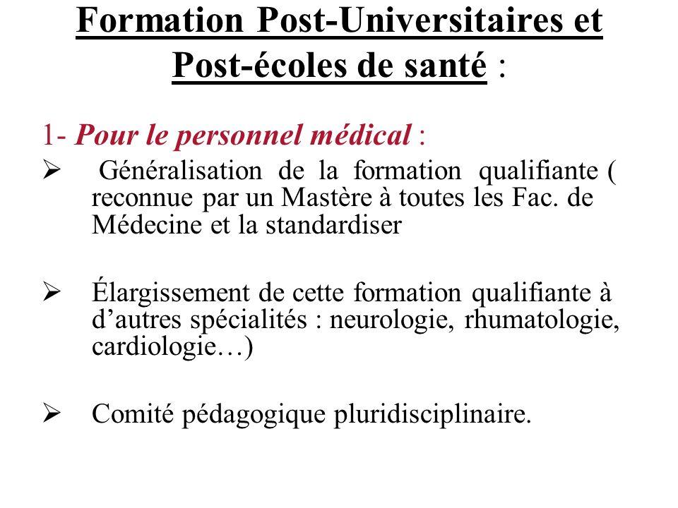 Formation Post-Universitaires et Post-écoles de santé :