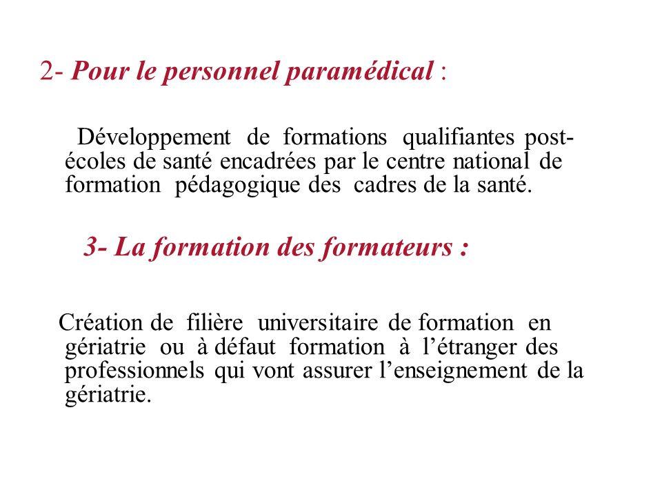 2- Pour le personnel paramédical :