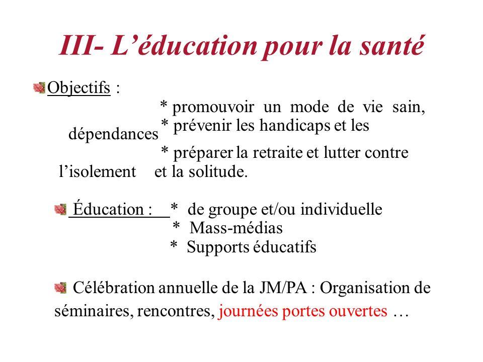 III- L'éducation pour la santé