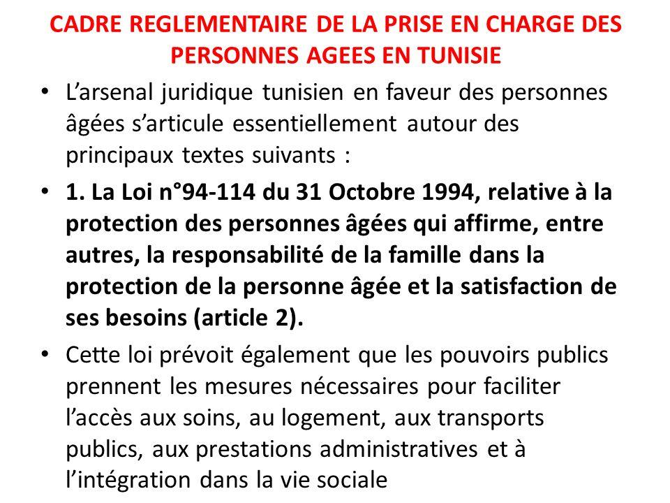 CADRE REGLEMENTAIRE DE LA PRISE EN CHARGE DES PERSONNES AGEES EN TUNISIE