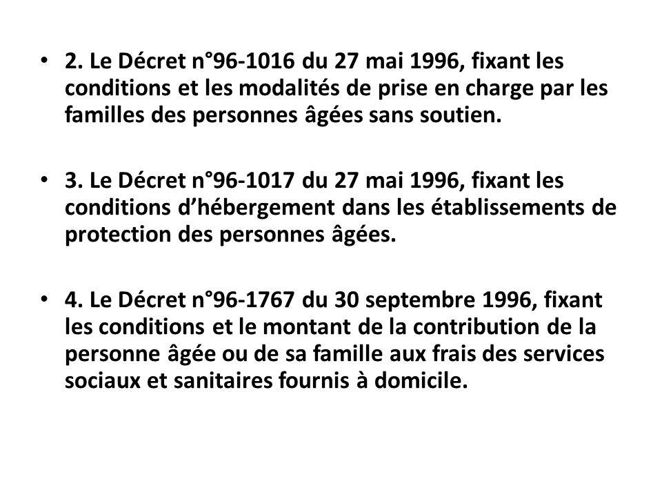 2. Le Décret n°96-1016 du 27 mai 1996, fixant les conditions et les modalités de prise en charge par les familles des personnes âgées sans soutien.