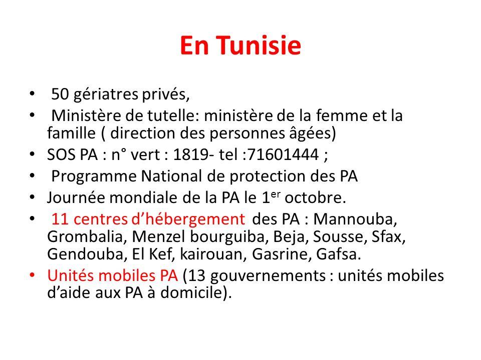 En Tunisie 50 gériatres privés,