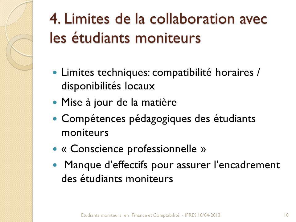 4. Limites de la collaboration avec les étudiants moniteurs