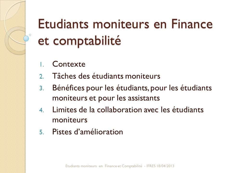 Etudiants moniteurs en Finance et comptabilité