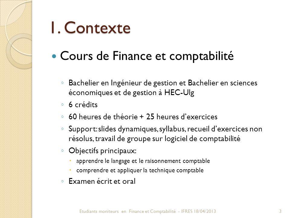 1. Contexte Cours de Finance et comptabilité
