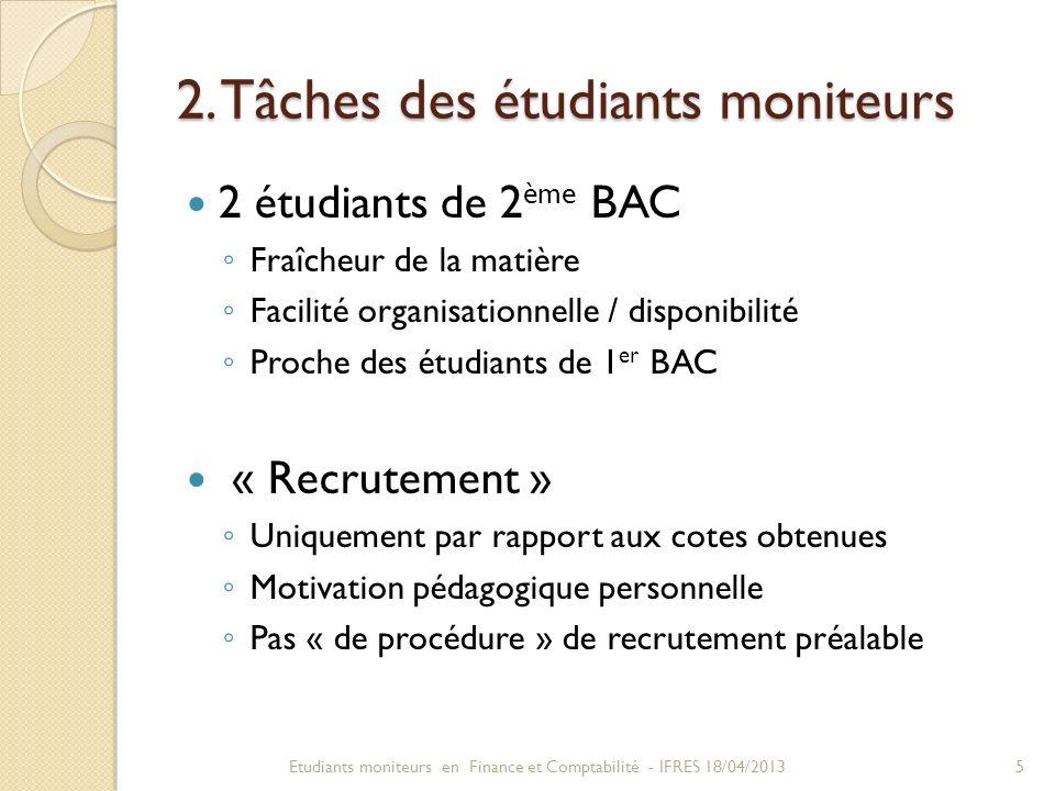 2. Tâches des étudiants moniteurs