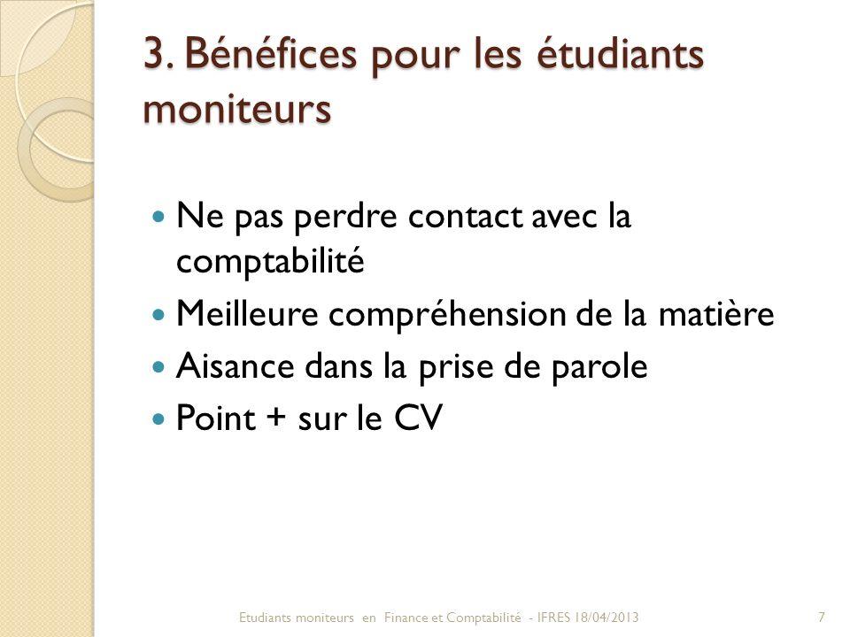 3. Bénéfices pour les étudiants moniteurs