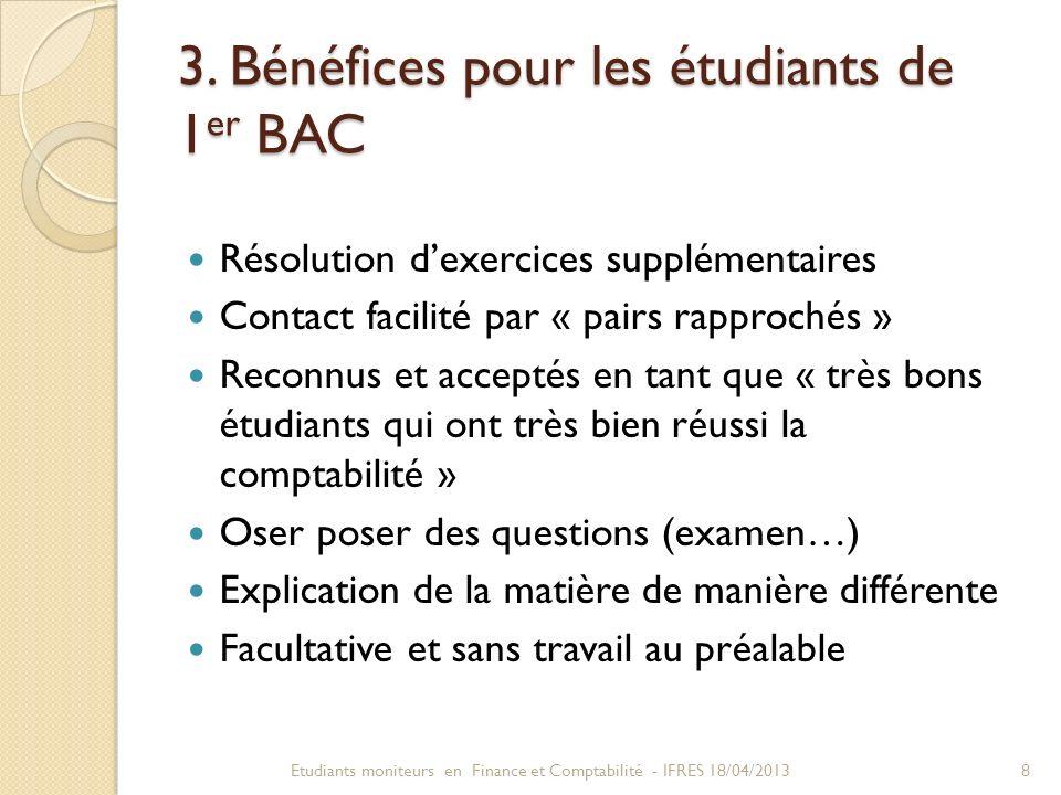 3. Bénéfices pour les étudiants de 1er BAC
