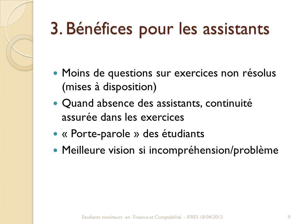3. Bénéfices pour les assistants