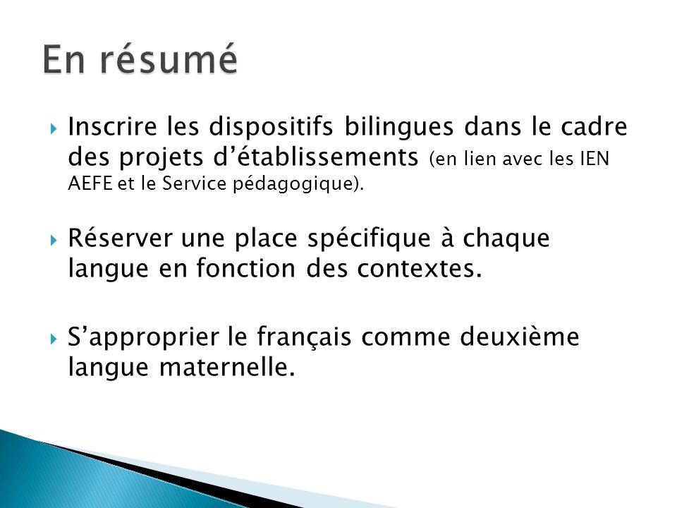 En résumé Inscrire les dispositifs bilingues dans le cadre des projets d'établissements (en lien avec les IEN AEFE et le Service pédagogique).