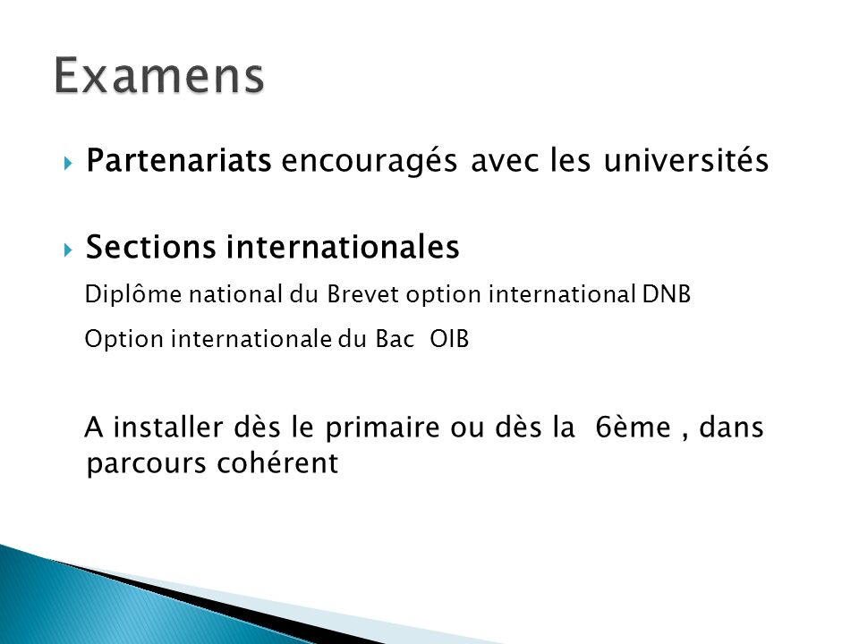 Examens Diplôme national du Brevet option international DNB