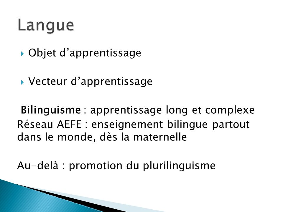 Langue Objet d'apprentissage Vecteur d'apprentissage