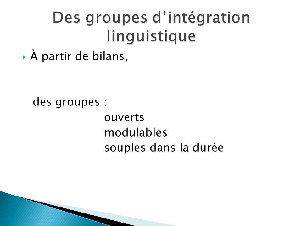 Des groupes d'intégration linguistique
