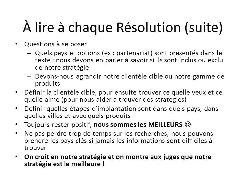 À lire à chaque Résolution (suite)