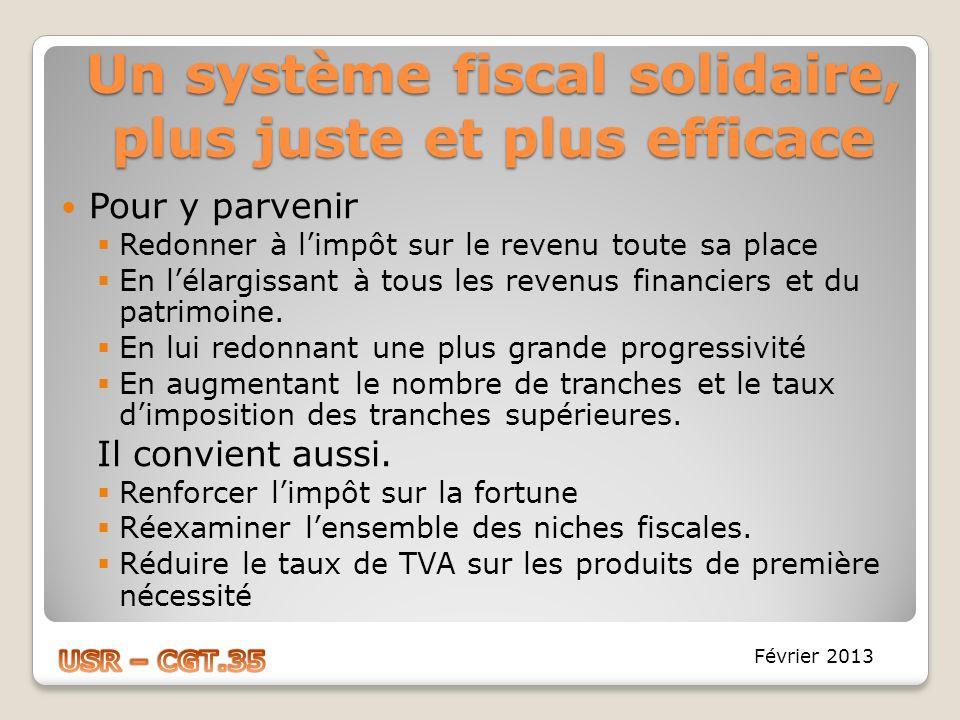 Un système fiscal solidaire, plus juste et plus efficace