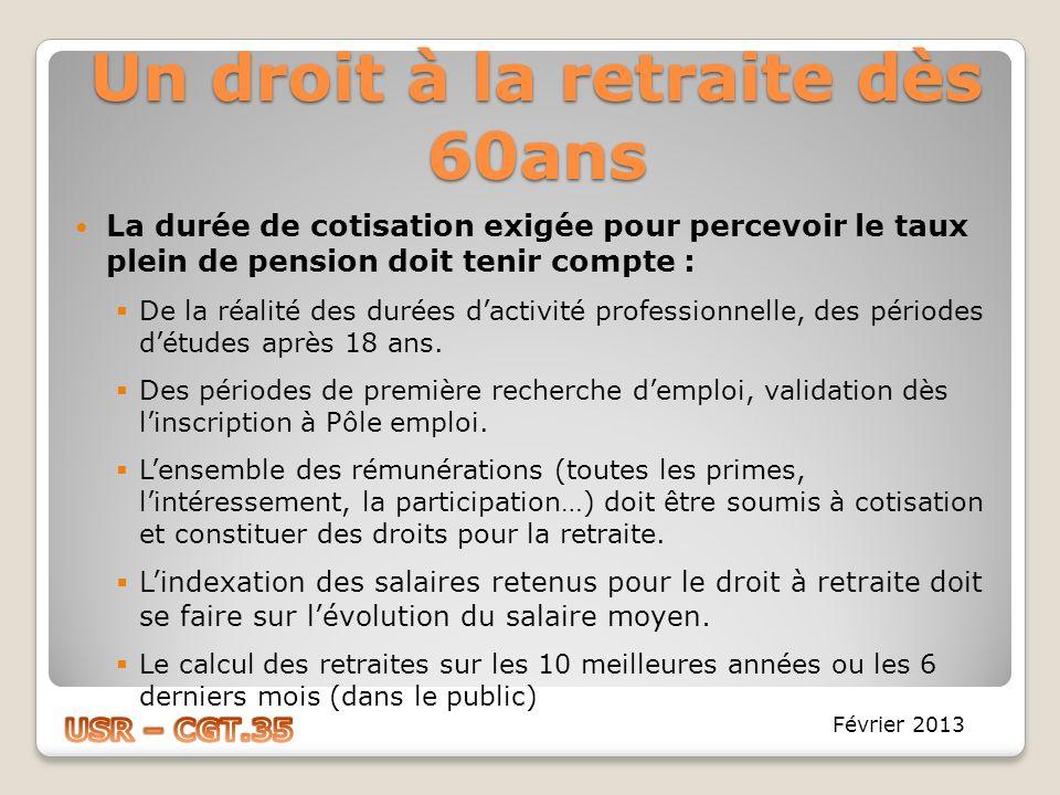 Un droit à la retraite dès 60ans