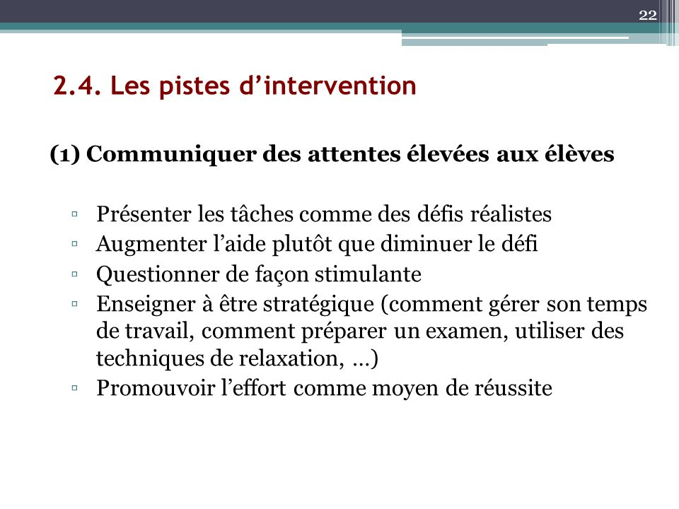 2.4. Les pistes d'intervention