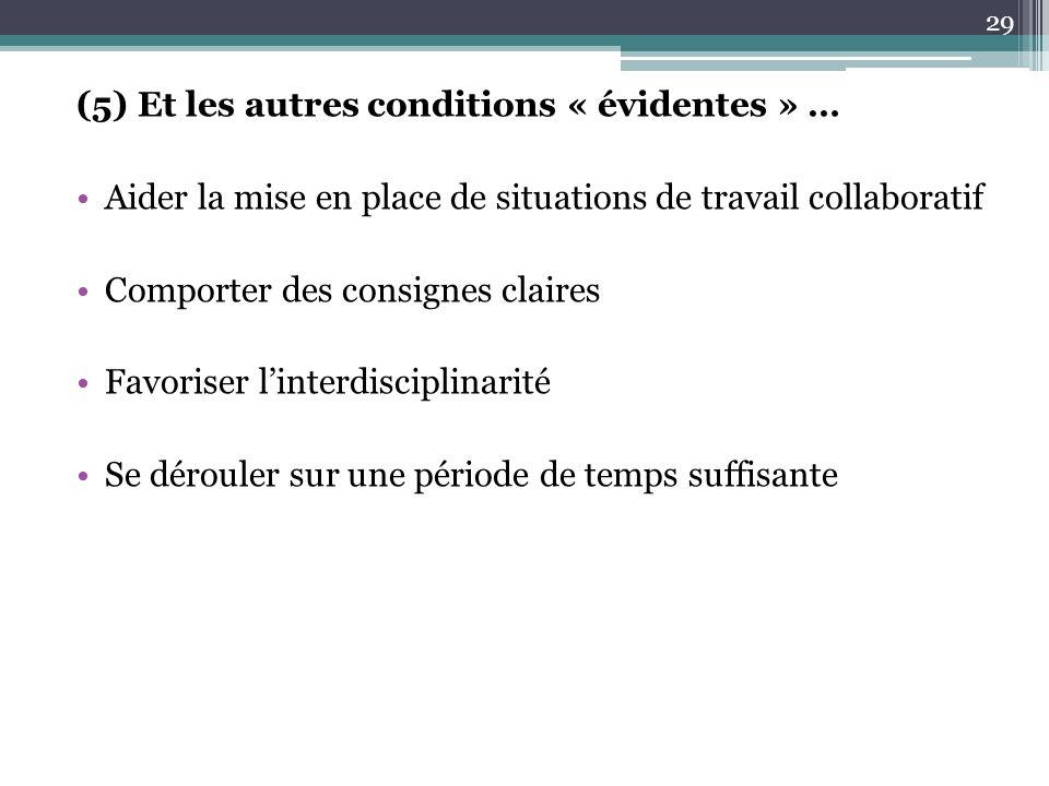 (5) Et les autres conditions « évidentes » …