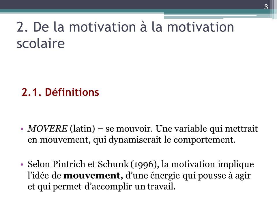 2. De la motivation à la motivation scolaire