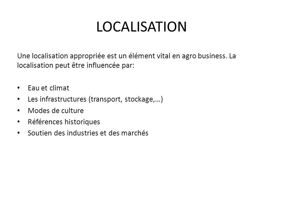 LOCALISATION Une localisation appropriée est un élément vital en agro business. La localisation peut être influencée par: