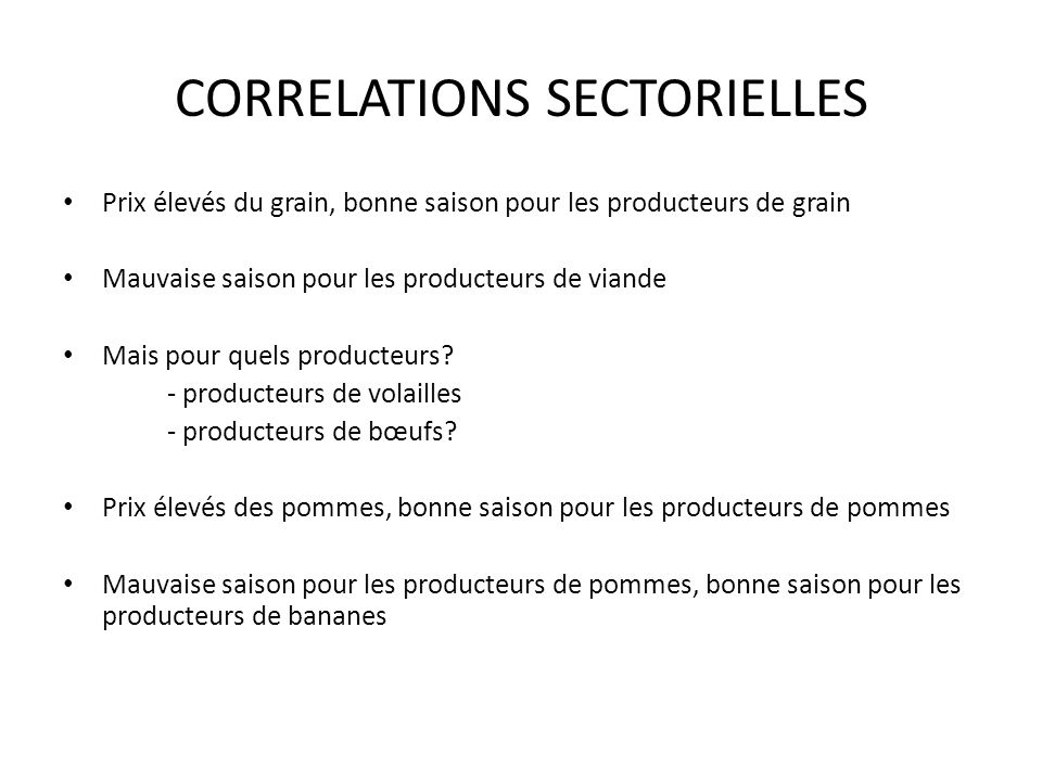 CORRELATIONS SECTORIELLES