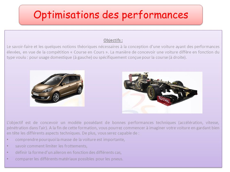 Optimisations des performances