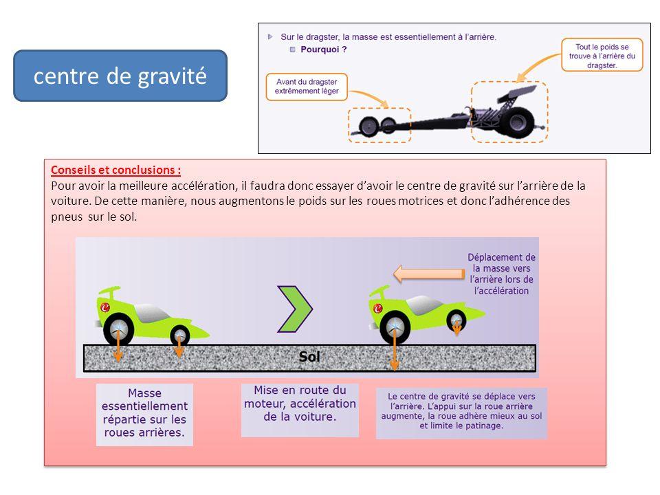 centre de gravité Conseils et conclusions :