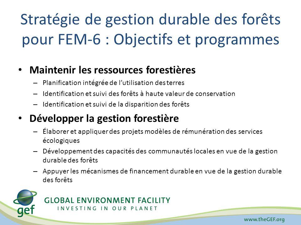 Stratégie de gestion durable des forêts pour FEM-6 : Objectifs et programmes