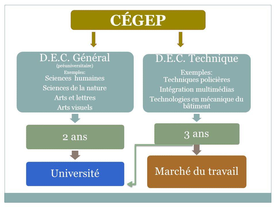 CÉGEP D.E.C. Technique D.E.C. Général (préuniversitaire)