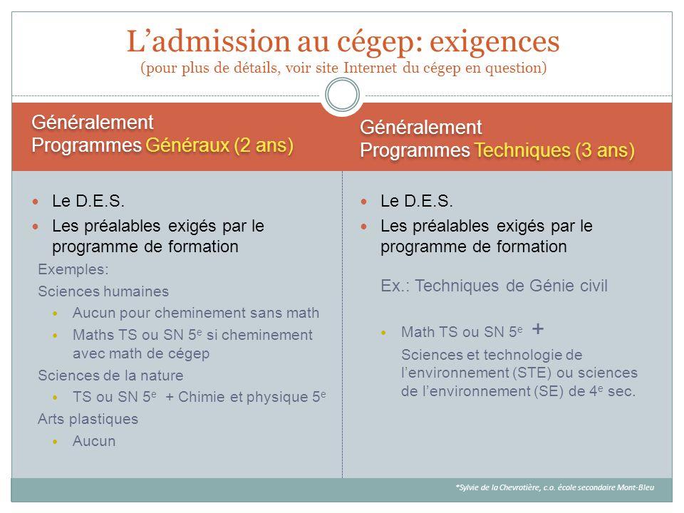 L'admission au cégep: exigences (pour plus de détails, voir site Internet du cégep en question)