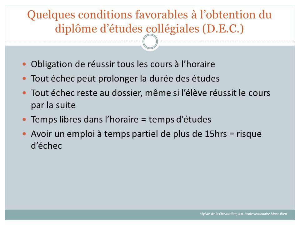 Quelques conditions favorables à l'obtention du diplôme d'études collégiales (D.E.C.)