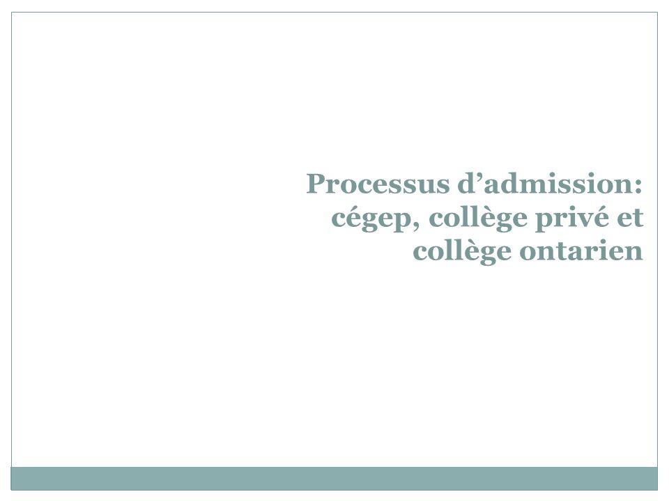 Processus d'admission: cégep, collège privé et collège ontarien