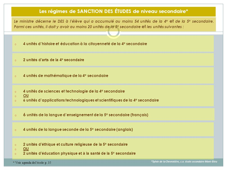 Les régimes de SANCTION DES ÉTUDES de niveau secondaire*