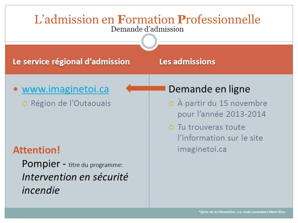 L'admission en Formation Professionnelle Demande d'admission