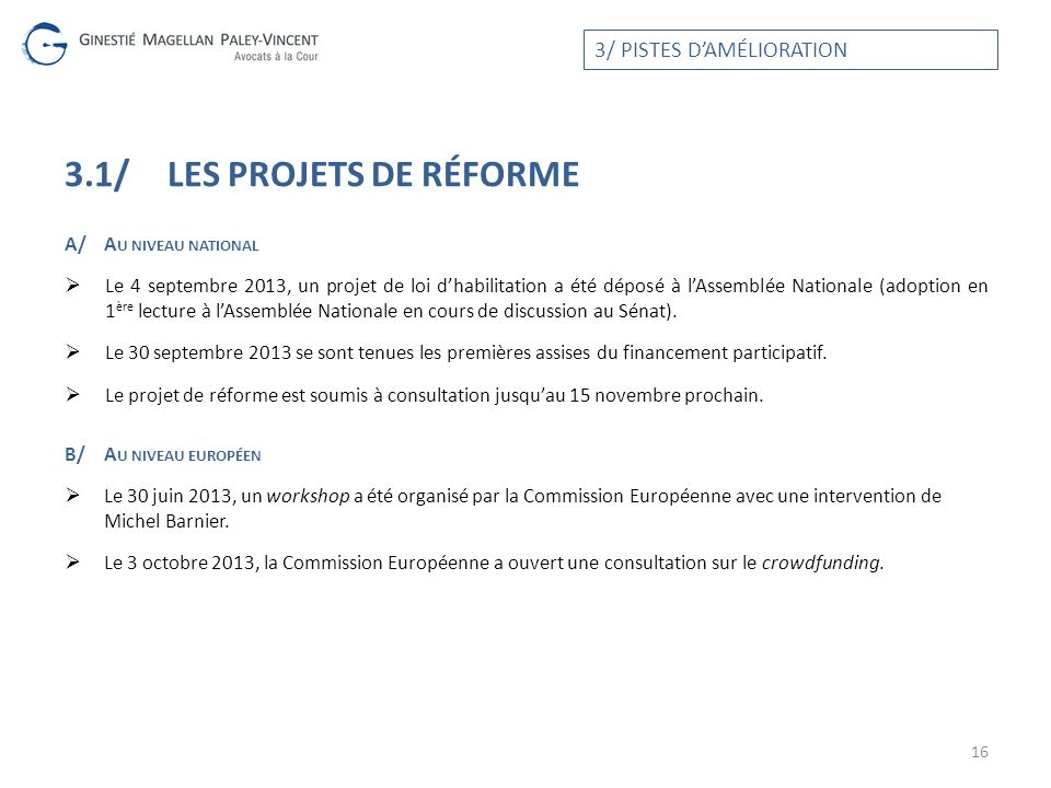 3.1/ LES projets de réforme