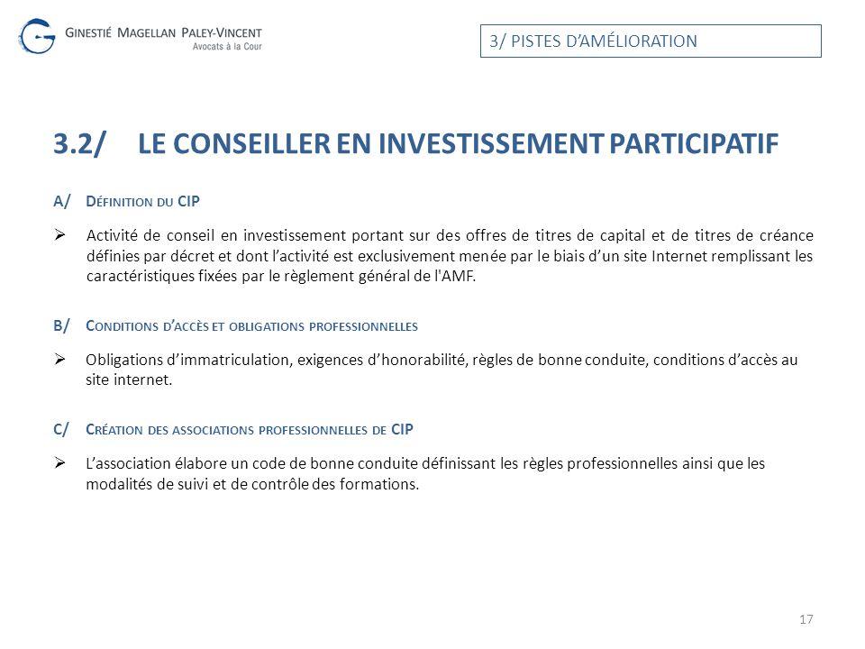 3.2/ LE conseiller en investissement participatif
