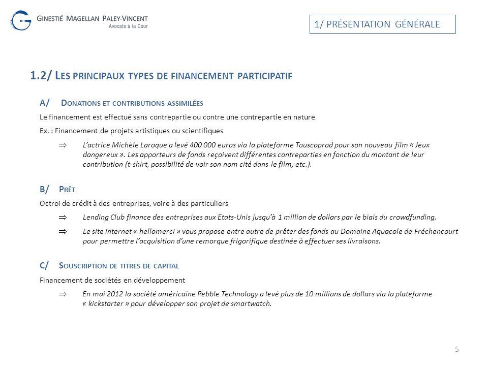 1.2/ Les principaux types de financement participatif