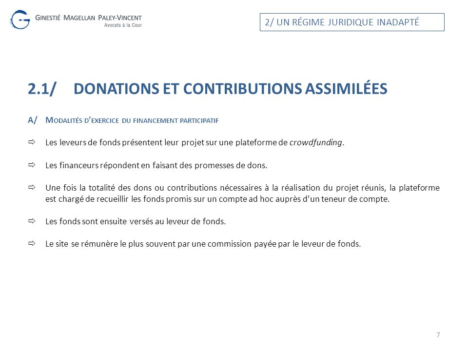 2.1/ Donations et CONTRIBUTIONS assimilées