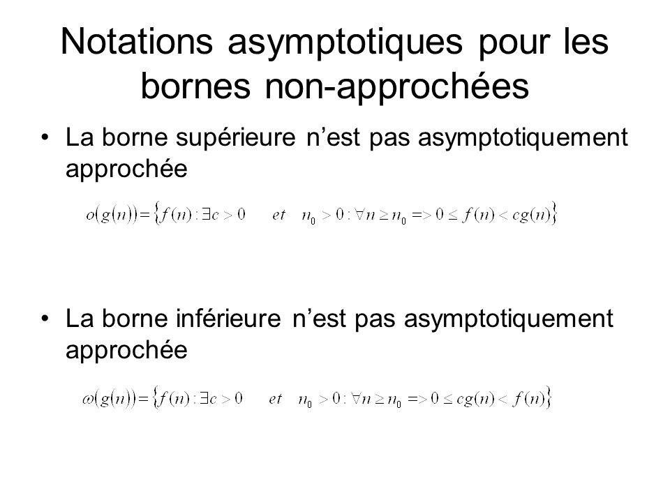 Notations asymptotiques pour les bornes non-approchées