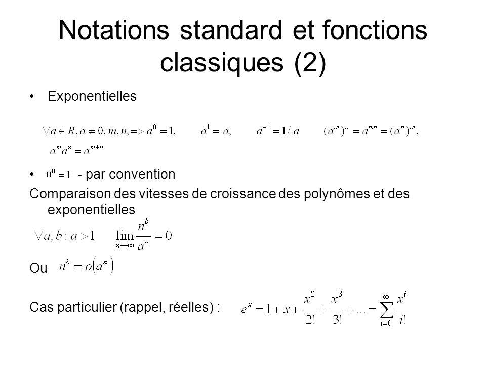 Notations standard et fonctions classiques (2)