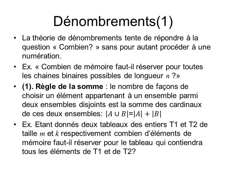 Dénombrements(1) La théorie de dénombrements tente de répondre à la question « Combien » sans pour autant procéder à une numération.