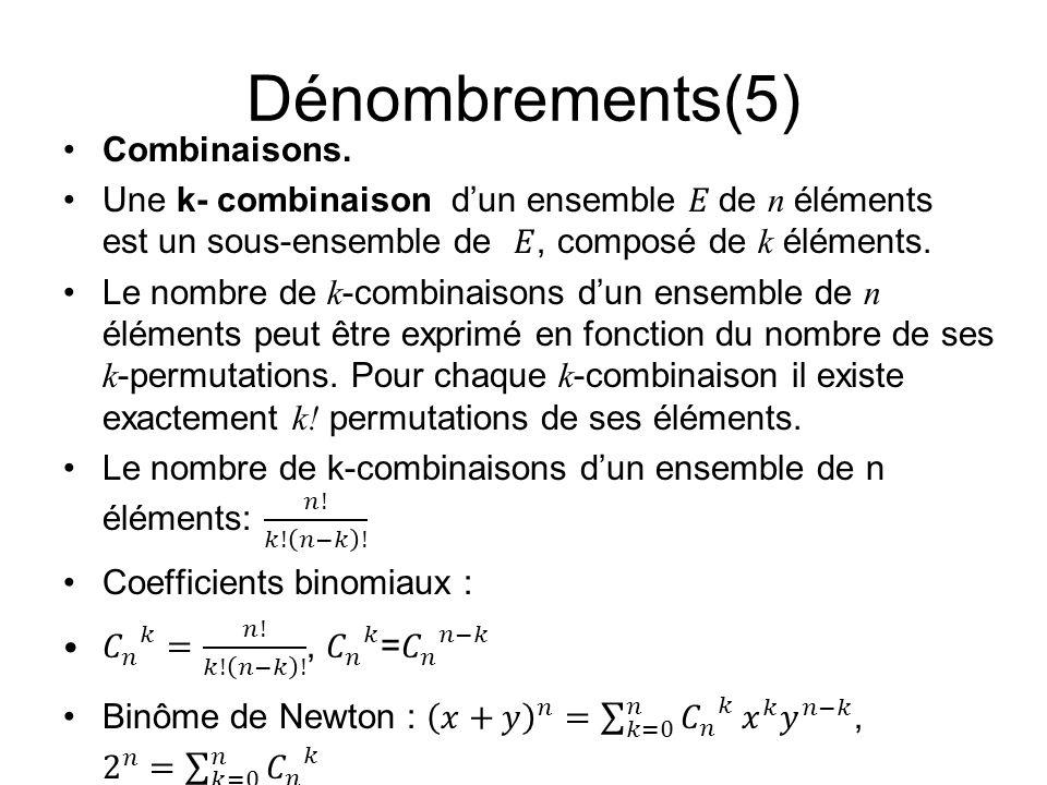 Dénombrements(5) Combinaisons.