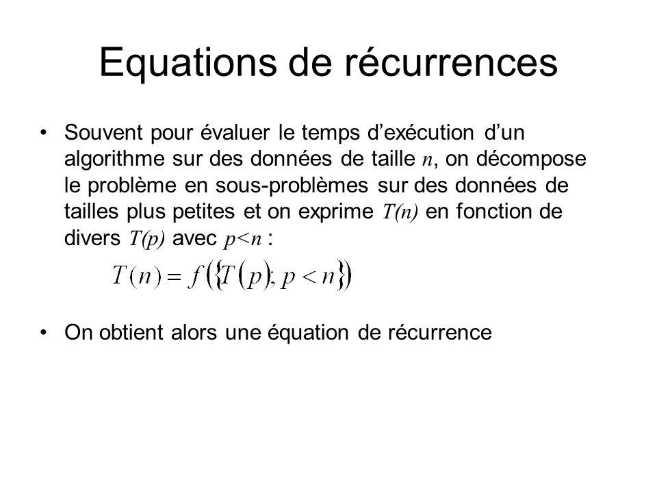 Equations de récurrences