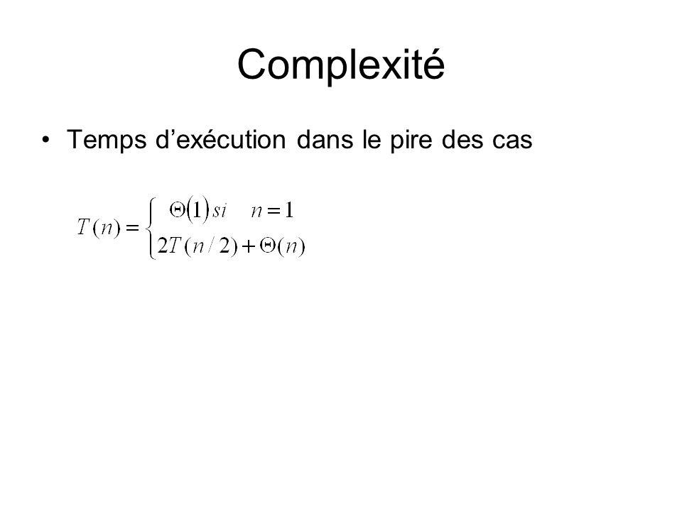 Complexité Temps d'exécution dans le pire des cas