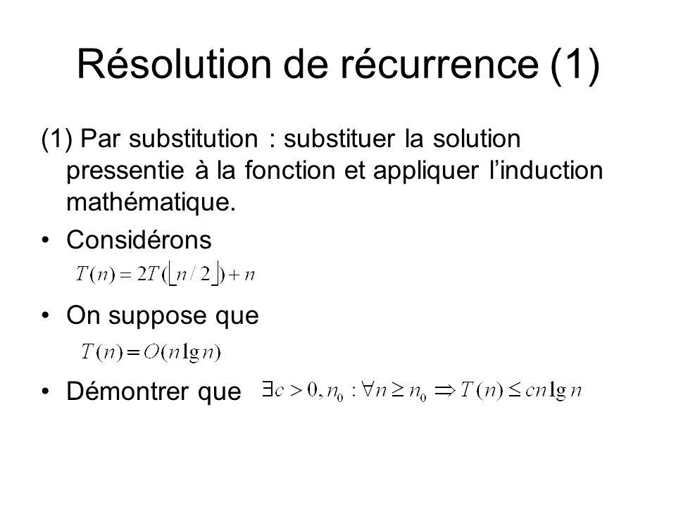 Résolution de récurrence (1)