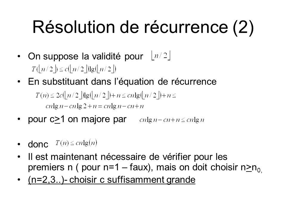 Résolution de récurrence (2)